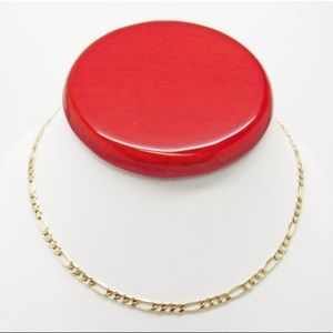"Jewelry - SOLID Gold 16"" Figaro Chain Necklace Real Women's"
